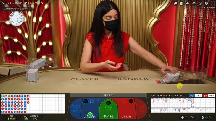 バカラ&ルーレット10000円START*NO 10*【欲】との戦い~必勝法なしオンラインカジノ