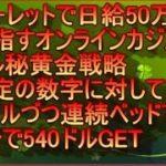 ルーレットで日給50万円を目指すオンラインカジノ マル秘黄金戦略  特定の数字に対して1ドルづつ連続ベッドで4分で540ドルGETの巻